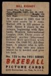 1951 Bowman #125  Bill Rigney  Back Thumbnail