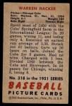 1951 Bowman #318  Warren Hacker  Back Thumbnail