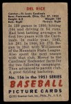 1951 Bowman #156  Del Rice  Back Thumbnail