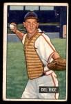 1951 Bowman #156  Del Rice  Front Thumbnail