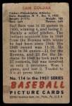 1951 Bowman #114  Sam Zoldak  Back Thumbnail