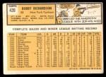 1963 Topps #420  Bobby Richardson  Back Thumbnail