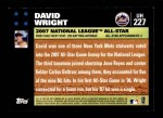 2007 Topps Update #227  David Wright  Back Thumbnail
