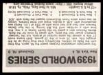 1971 Fleer World Series #37   1939 Yankees / Reds Back Thumbnail