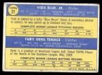 1970 Topps #21   -   Vida Blue / Gene Tenace Athletics Rookies Back Thumbnail