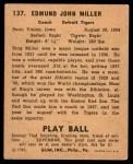 1940 Play Ball #137  Bing Miller  Back Thumbnail