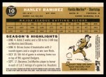 2009 Topps Heritage #10  Hanley Ramirez  Back Thumbnail