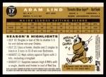 2009 Topps Heritage #17  Adam Lind  Back Thumbnail