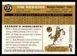 2009 Topps Heritage #175  Tim Redding  Back Thumbnail