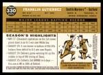 2009 Topps Heritage #330  Franklin Gutierrez  Back Thumbnail