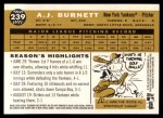 2009 Topps Heritage #239  A.J. Burnett  Back Thumbnail