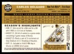 2009 Topps Heritage #289  Carlos Delgado  Back Thumbnail
