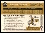 2009 Topps Heritage #357  Vicente Padilla  Back Thumbnail