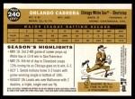 2009 Topps Heritage #240  Orlando Cabrera  Back Thumbnail