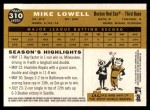 2009 Topps Heritage #310  Mike Lowell  Back Thumbnail