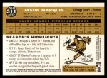 2009 Topps Heritage #311  Jason Marquis  Back Thumbnail
