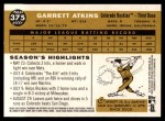 2009 Topps Heritage #375  Garrett Atkins  Back Thumbnail