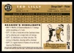 2009 Topps Heritage #412  Ted Lilly  Back Thumbnail