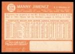 1964 Topps #574  Manny Jimenez  Back Thumbnail