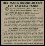 1952 Red Man #26 AL x Gus Zernial  Back Thumbnail