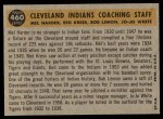 1960 Topps #460   -  Mel Harder / Jo Jo White / Bob Lemon / Ralph Kress Indians Coaches Back Thumbnail