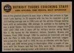 1960 Topps #461   -  Tom Ferrick / Luke Appling / Billy Hitchcock Tigers Coaches Back Thumbnail