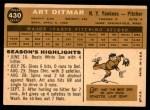 1960 Topps #430  Art Ditmar  Back Thumbnail