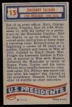 1956 Topps U.S. Presidents #15  Zachary Taylor  Back Thumbnail