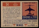 1952 Topps Wings #54   LA-5 Back Thumbnail