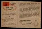 1954 Bowman #68  Don Paul  Back Thumbnail