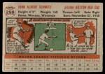1956 Topps #298  Johnny Schmitz  Back Thumbnail
