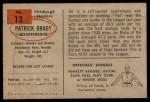 1954 Bowman #13  Pat Brady  Back Thumbnail
