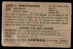 1952 Bowman Large #129  Jack Christiansen  Back Thumbnail