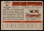 1956 Topps #81  Fred Morrison  Back Thumbnail
