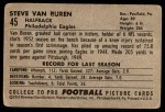 1952 Bowman Large #45  Steve Van Buren  Back Thumbnail