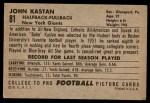 1952 Bowman Large #81  John Kastan  Back Thumbnail