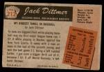 1955 Bowman #212  Jack Dittmer  Back Thumbnail