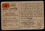 1954 Bowman #48  Don Stonesifer  Back Thumbnail