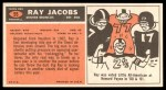 1965 Topps #55  Ray Jacobs  Back Thumbnail