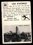 1951 Topps Magic #14  Lou D'Achille  Back Thumbnail