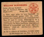 1950 Bowman #56  William Blackburn  Back Thumbnail