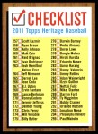 2011 Topps Heritage #0   Checklist 4 of 6 Front Thumbnail