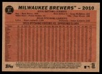 2011 Topps Heritage #61   Brewers Team Back Thumbnail