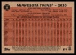 2011 Topps Heritage #98   Twins Team Back Thumbnail