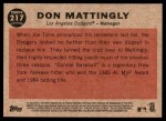 2011 Topps Heritage #217  Don Mattingly  Back Thumbnail