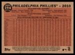 2011 Topps Heritage #294   Phillies Team Back Thumbnail
