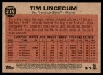 2011 Topps Heritage #319   -  Tim Lincecum Lincecum Shows His Stuff Back Thumbnail