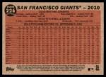 2011 Topps Heritage #226   Giants Team Back Thumbnail