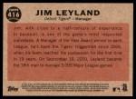 2011 Topps Heritage #416  Jim Leyland  Back Thumbnail