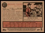 2011 Topps Heritage #411  Michael Young  Back Thumbnail
